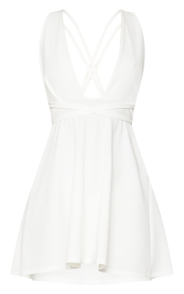 White Wrap Detail Skater Dress 3