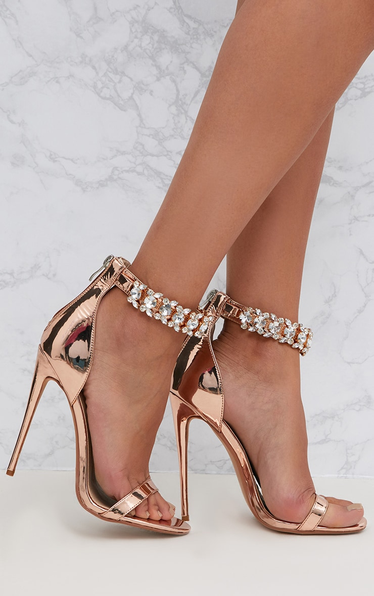 5174a57b3110 Rose Gold Jewelled Ankle Strap Heeled Sandals image 1