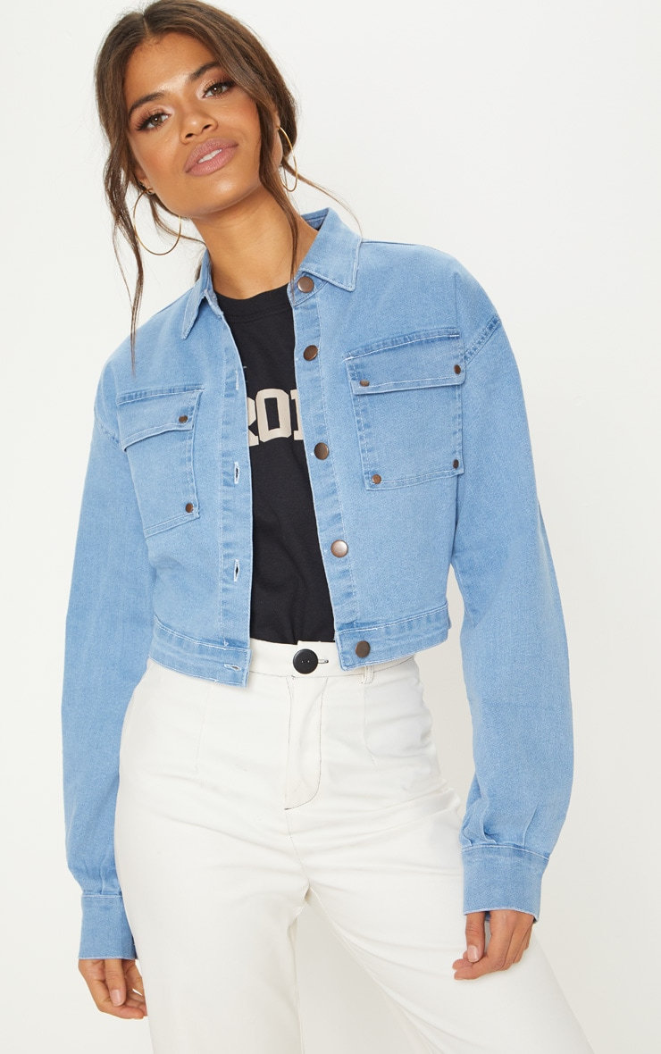 Light Wash Oversized Cropped Trucker Denim Jacket  1