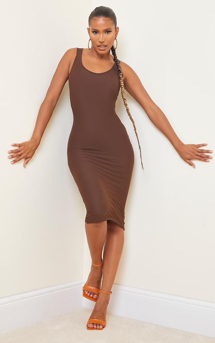 Chocolate Power Mesh Sleeveless Midi Dress 1