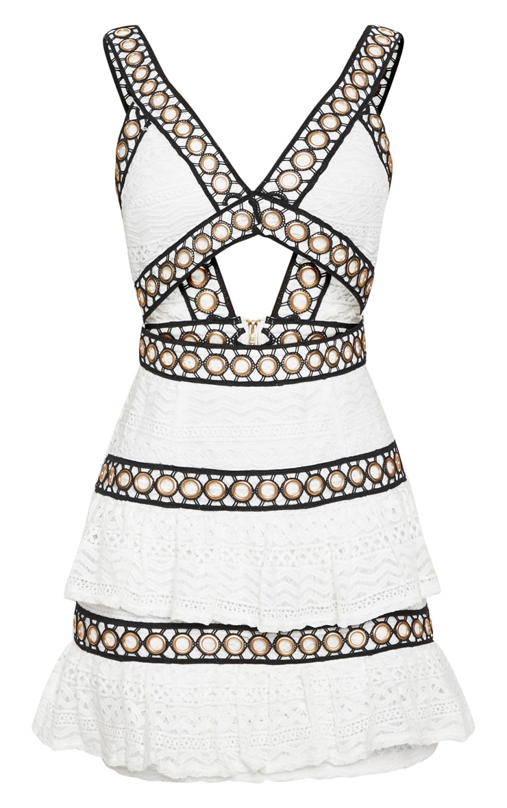 White Lace Contrast Eyelet Trim Tiered Bodycon Dress 3