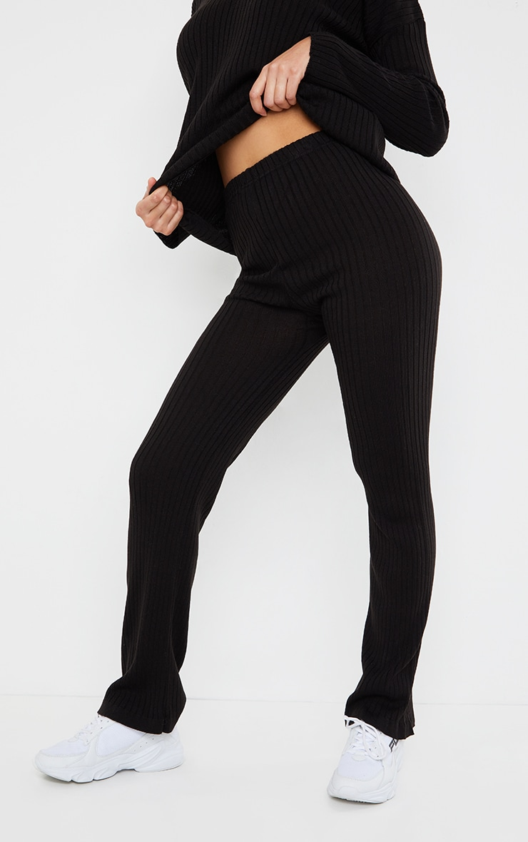 Black Ribbed Knitted Flare High Waisted Trouser 2
