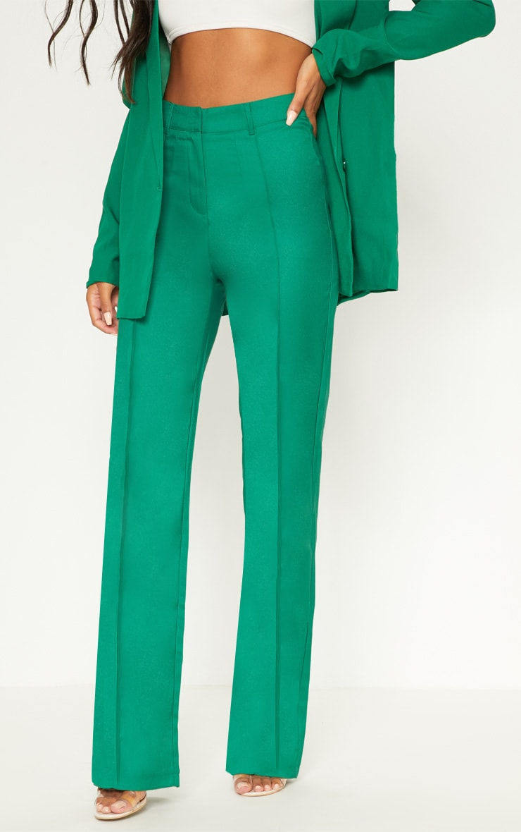 Green High Waisted Straight Leg Pants 2