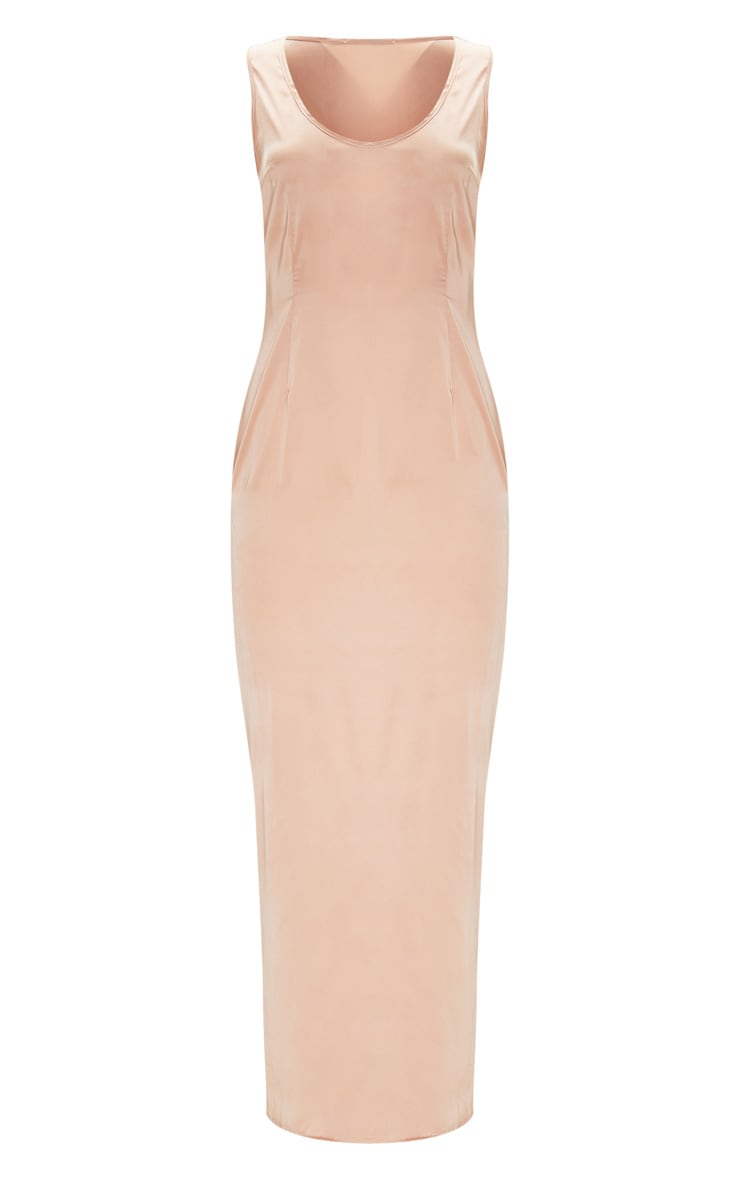 Peach Satin Fitted Maxi Dress 3