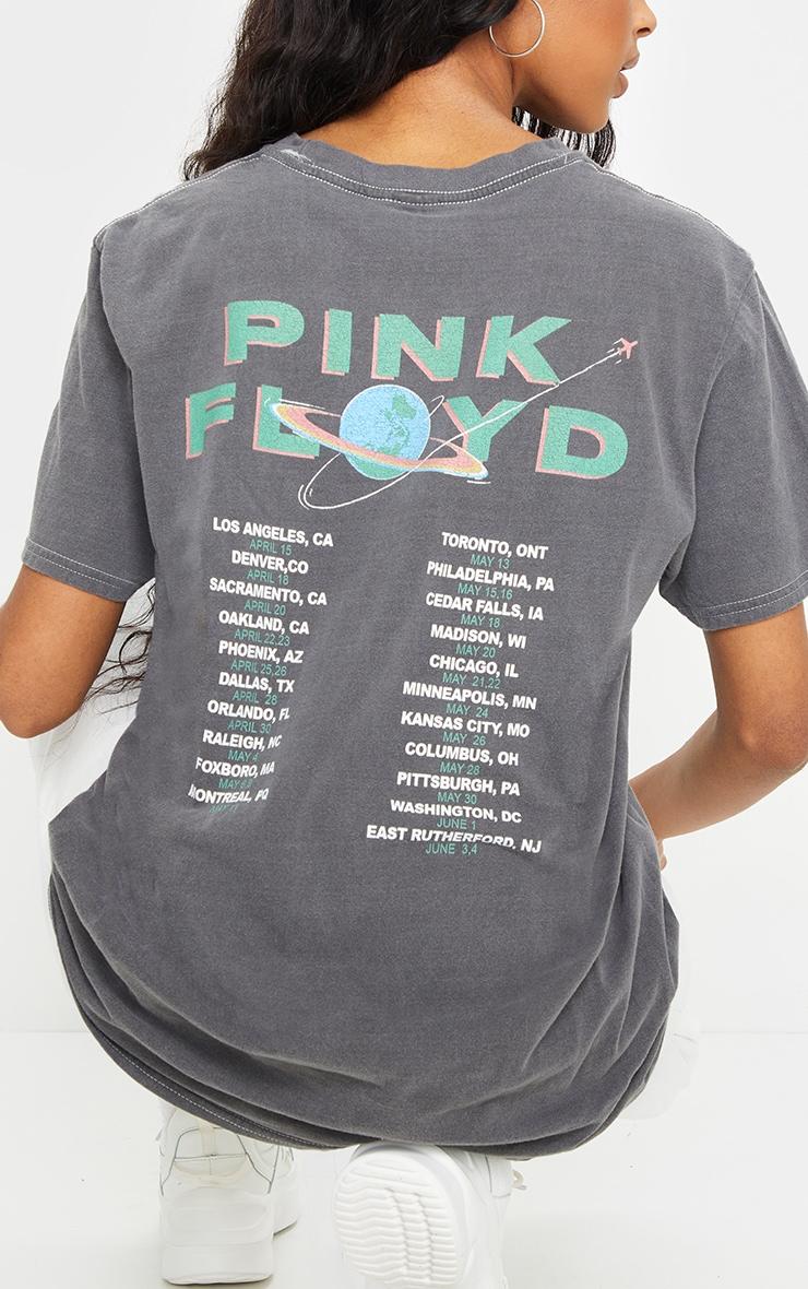 Grey Washed Pink Floyd Printed Tour T Shirt 4