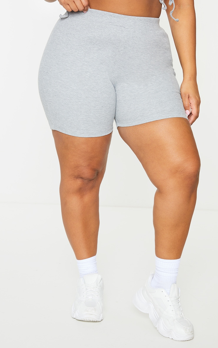 Plus Grey Rib Cycle Shorts 2