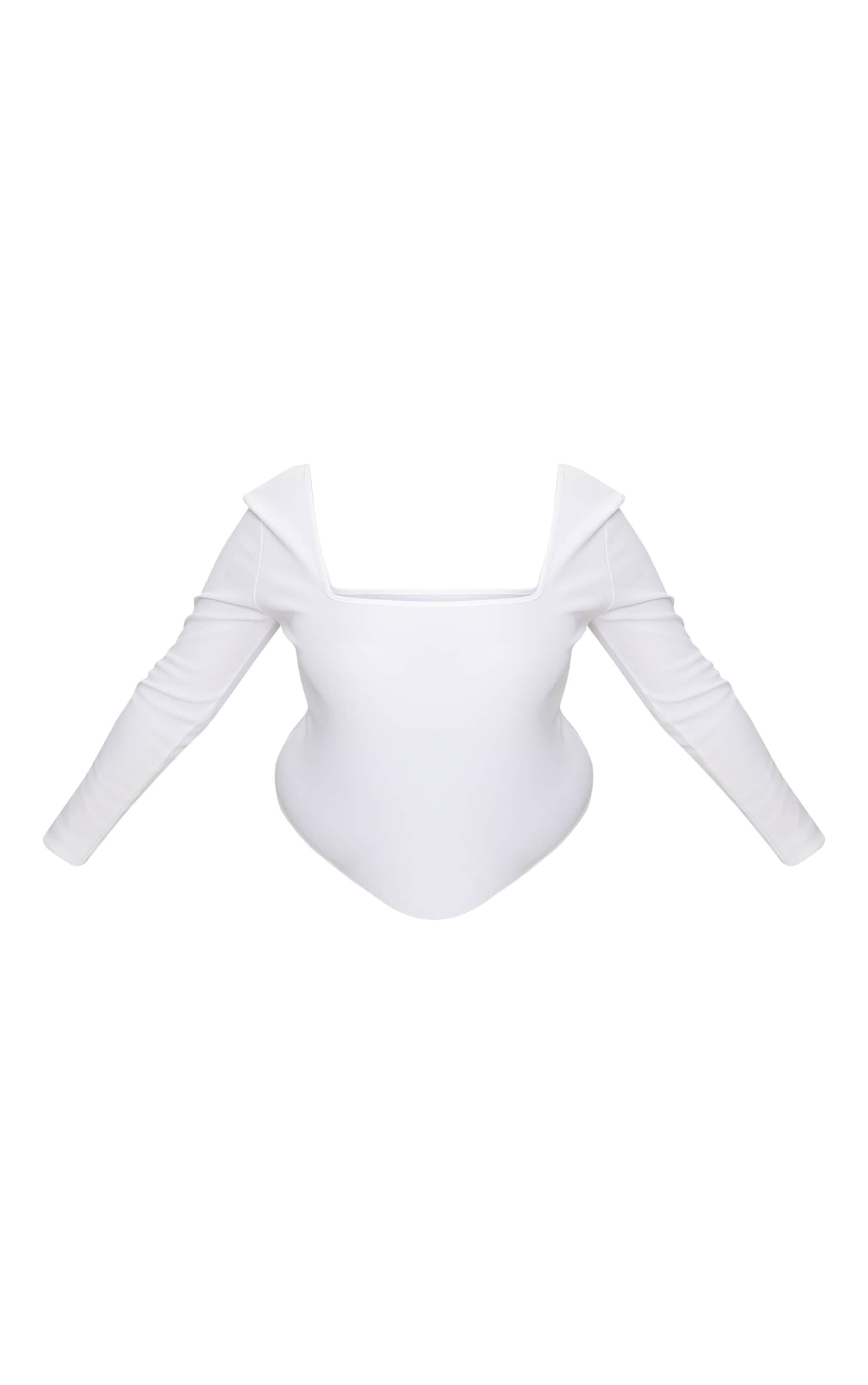 Plus White Ribbed Square Neck Bodysuit 3