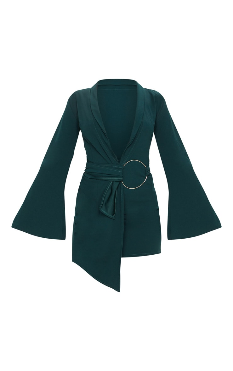 Emerald Green Oversized Ring Detail Blazer Dress 3