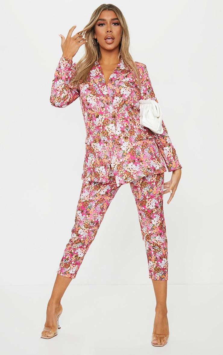 Pink Ditsy Floral Cigarette Pants 1