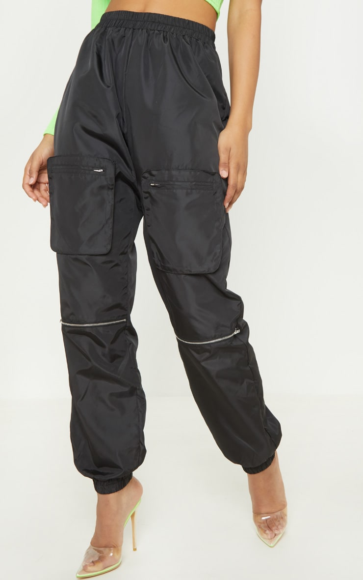 Tall Black Cargo Zip Pocket Detail Pants 2