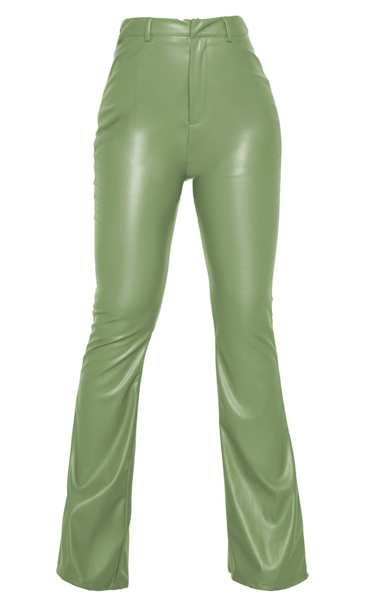 Khaki PU Flared Pants 3
