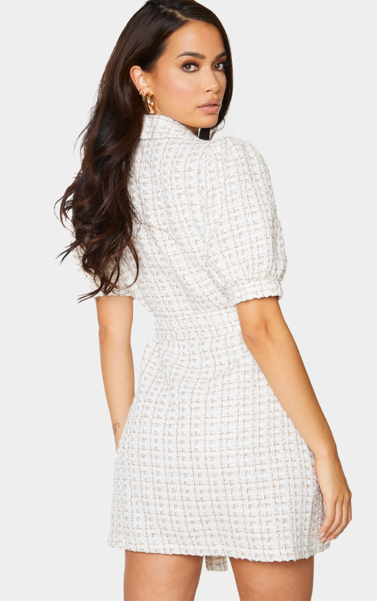 White Glitter Boucle Puff Sleeve Blazer Dress 2