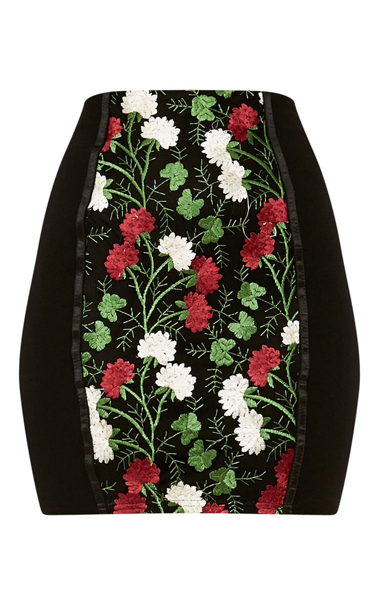 Remih Black Embroidered Floral Panel Mini Skirt  3