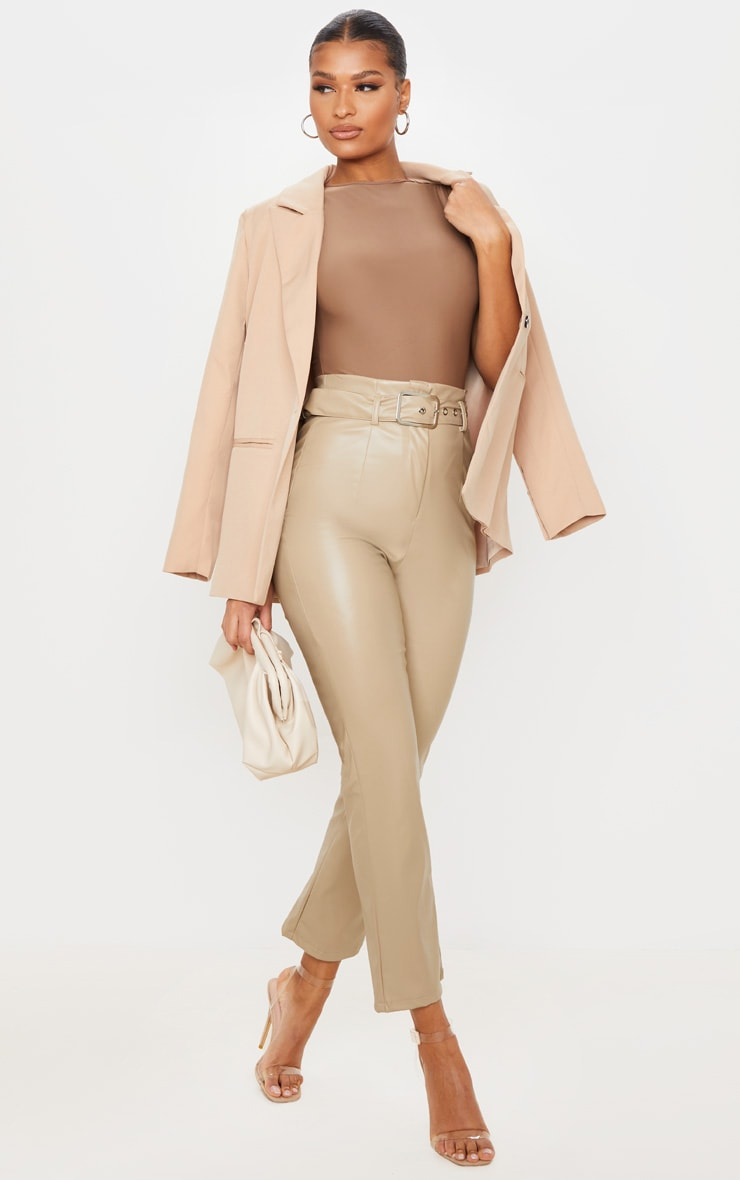 Stone Belted Straight Leg Faux Leather Trousers 1