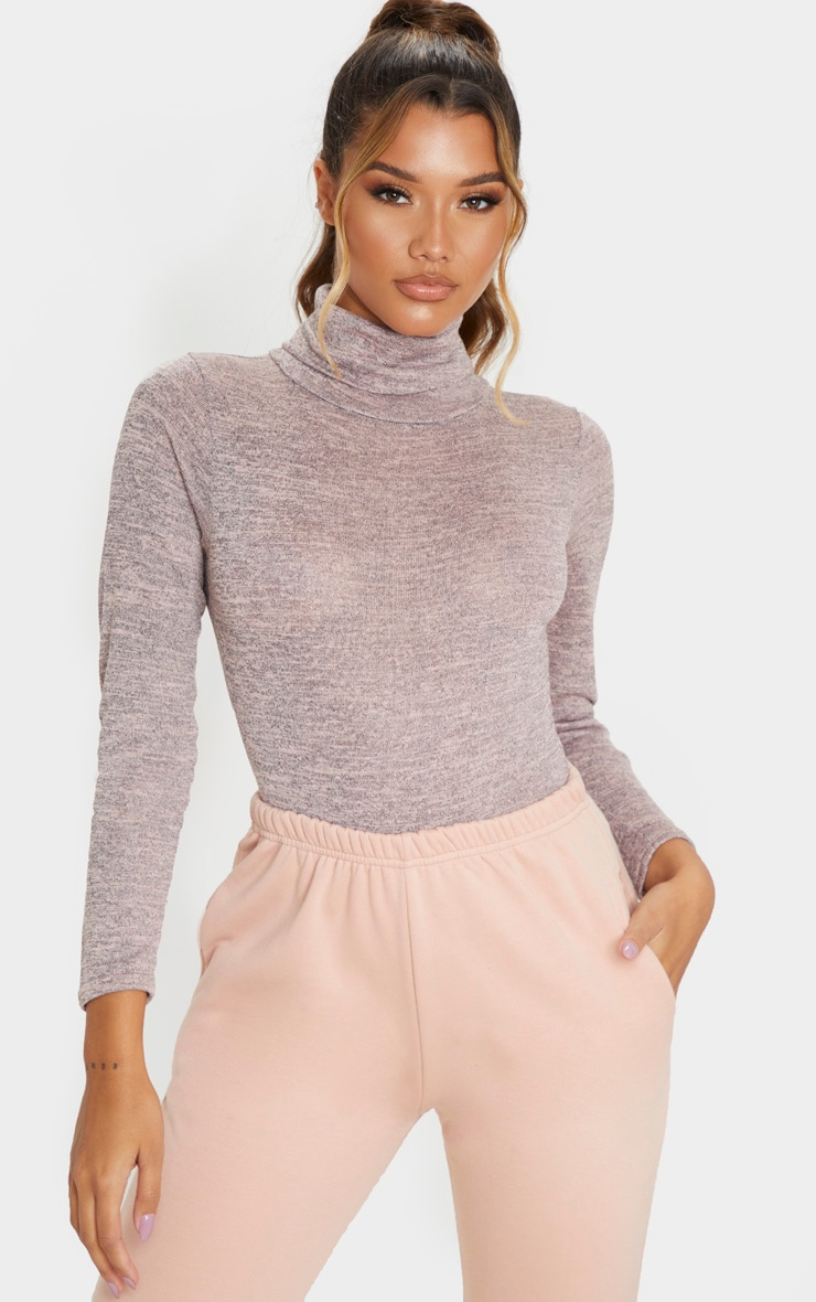 Blush Roll Neck Long Sleeve Bodysuit 1