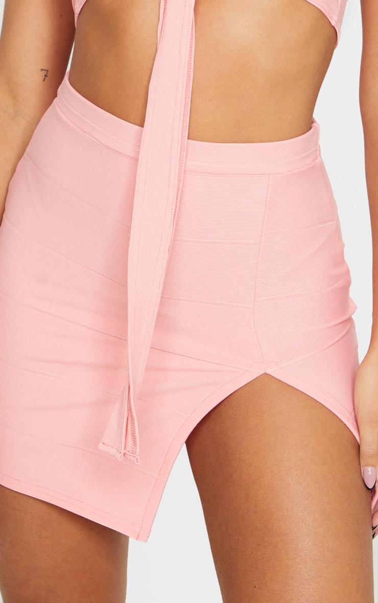 Peach Bandage Split Mini Skirt 6