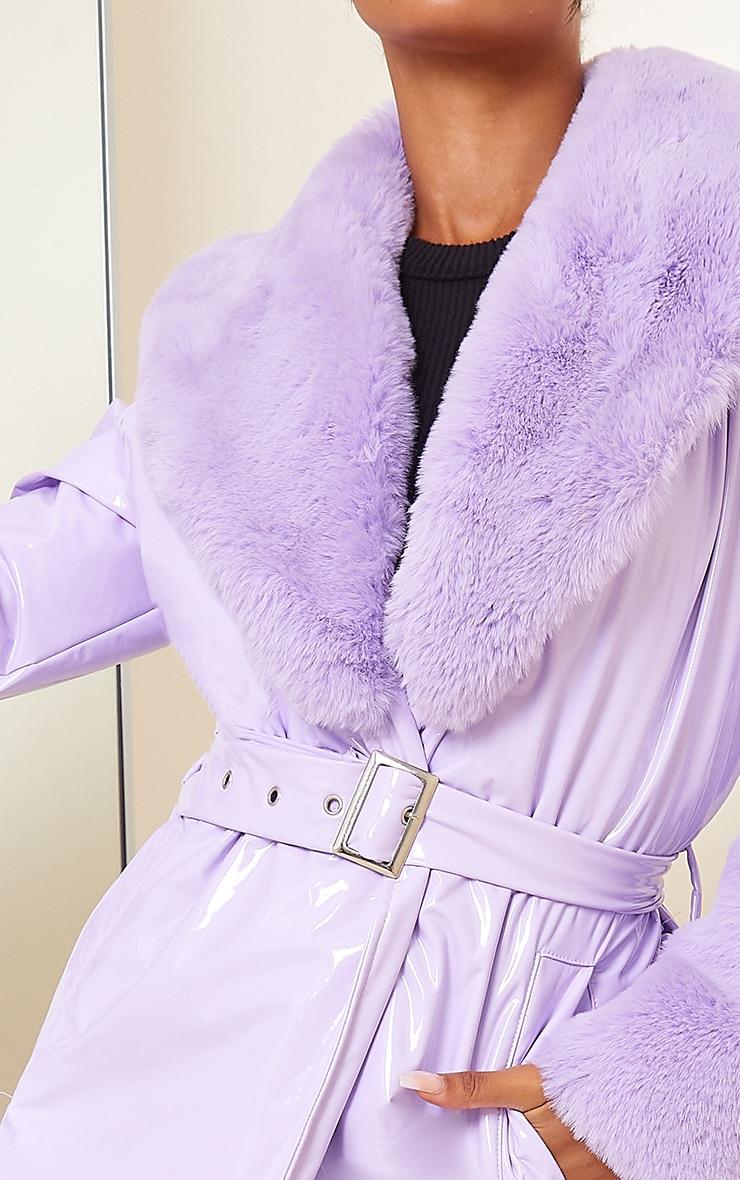 Lilac Vinyl Faux Fur Maxi Trench Coat 3