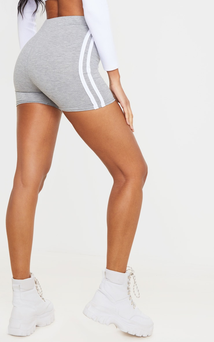 Grey Double Side Stripe High Waisted Shorts 3