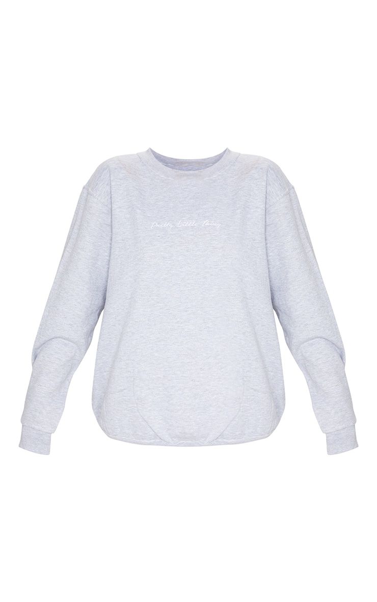 PRETTYLITTLETHING Grey Marl Oversized Sweater 5