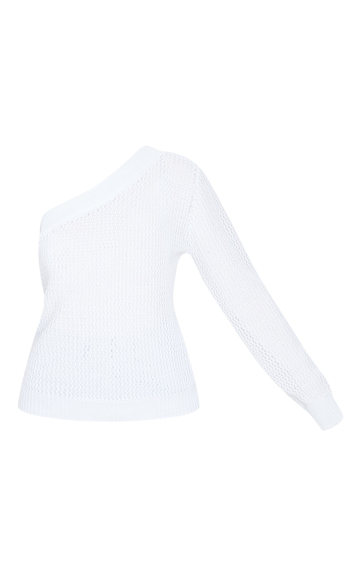 Cream One Shoulder Open Knitted Sweater 5