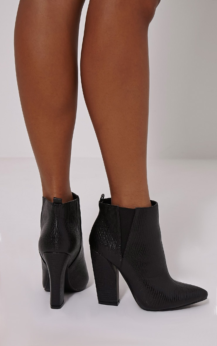 Roma Black Cut Out Heel Ankle Boots 2