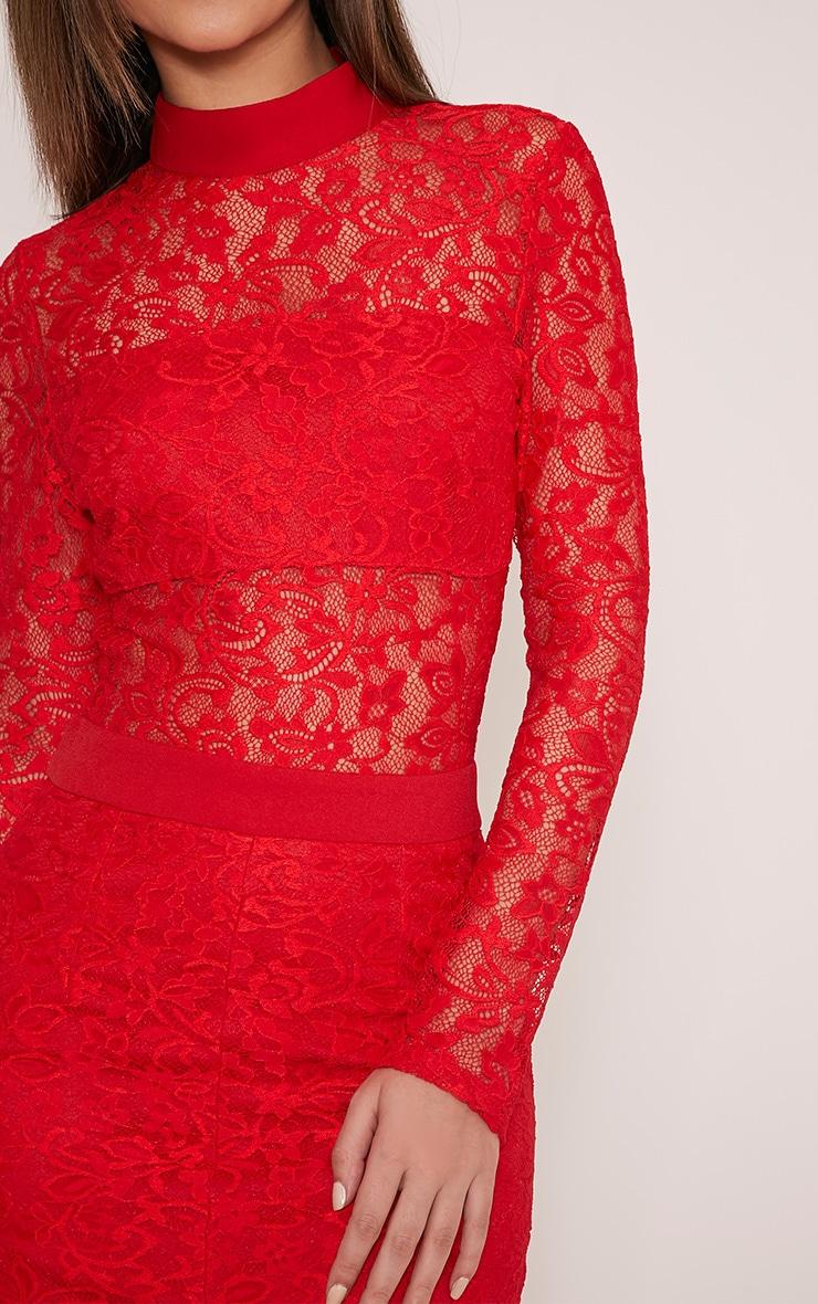Viola Red High Neck Lace Midi Dress 6