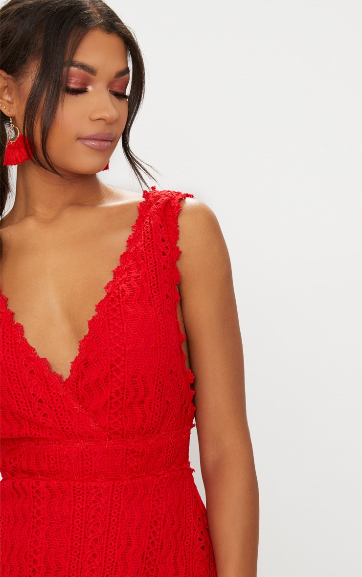 Red Lace Plunge Top 5