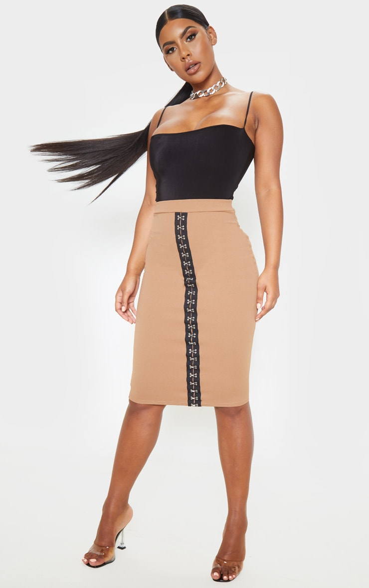 Camel Hook & Eye Detail Midi Skirt  1