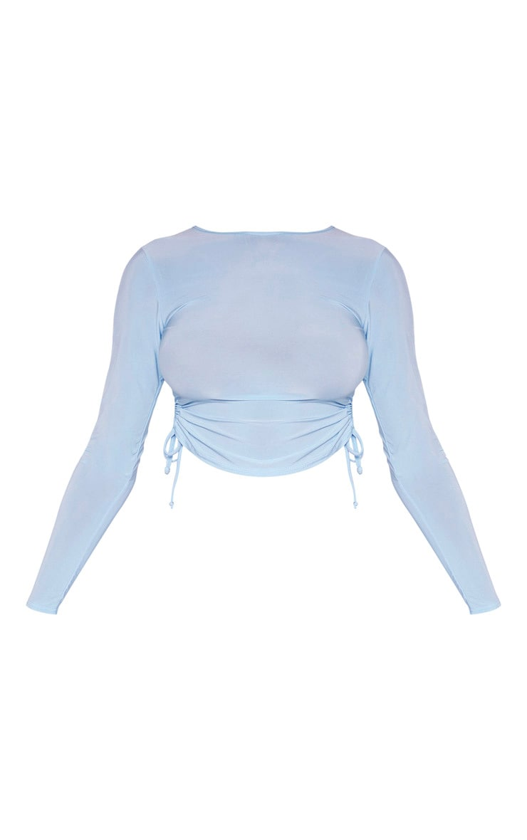 Tall Baby Blue Slinky Ruched Side Crop Top 3