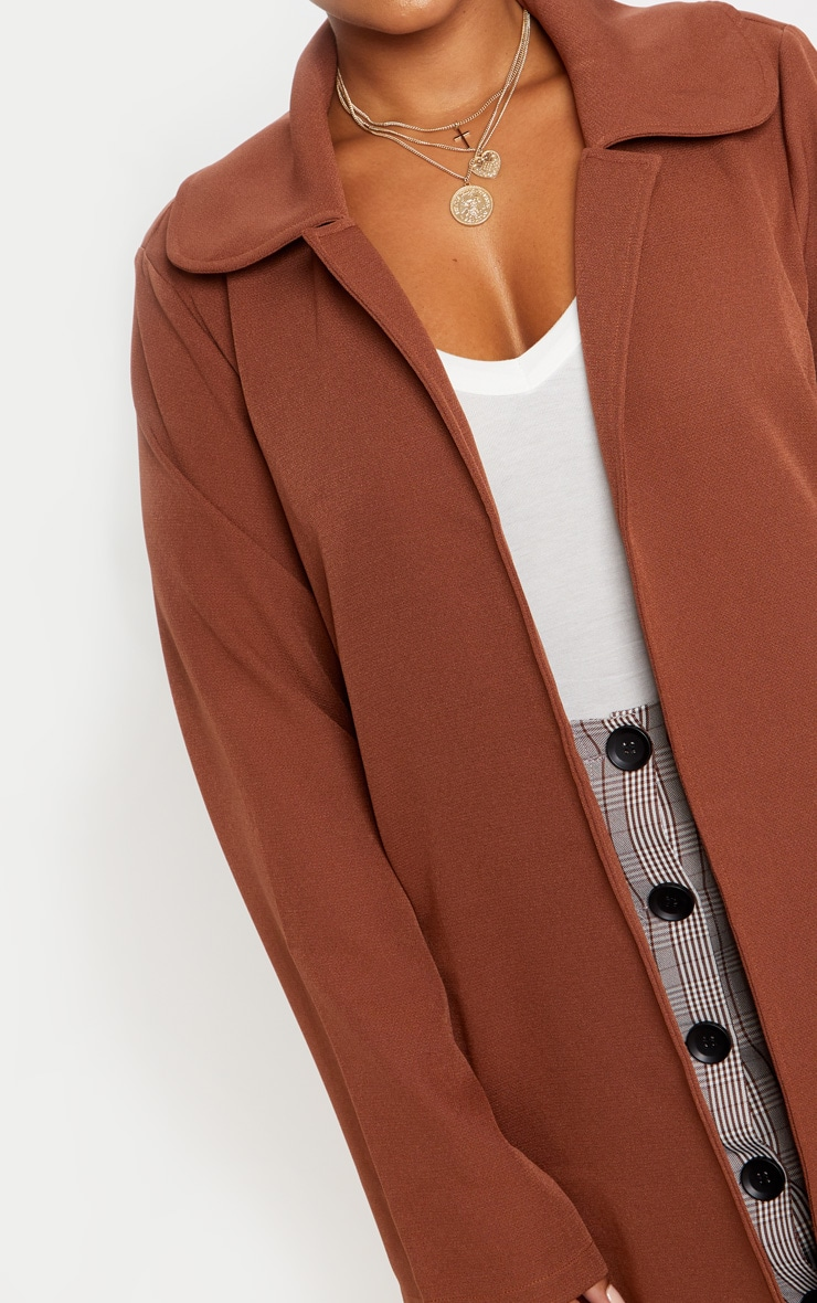 Plus Chocolate Brown Longline Duster Coat 5