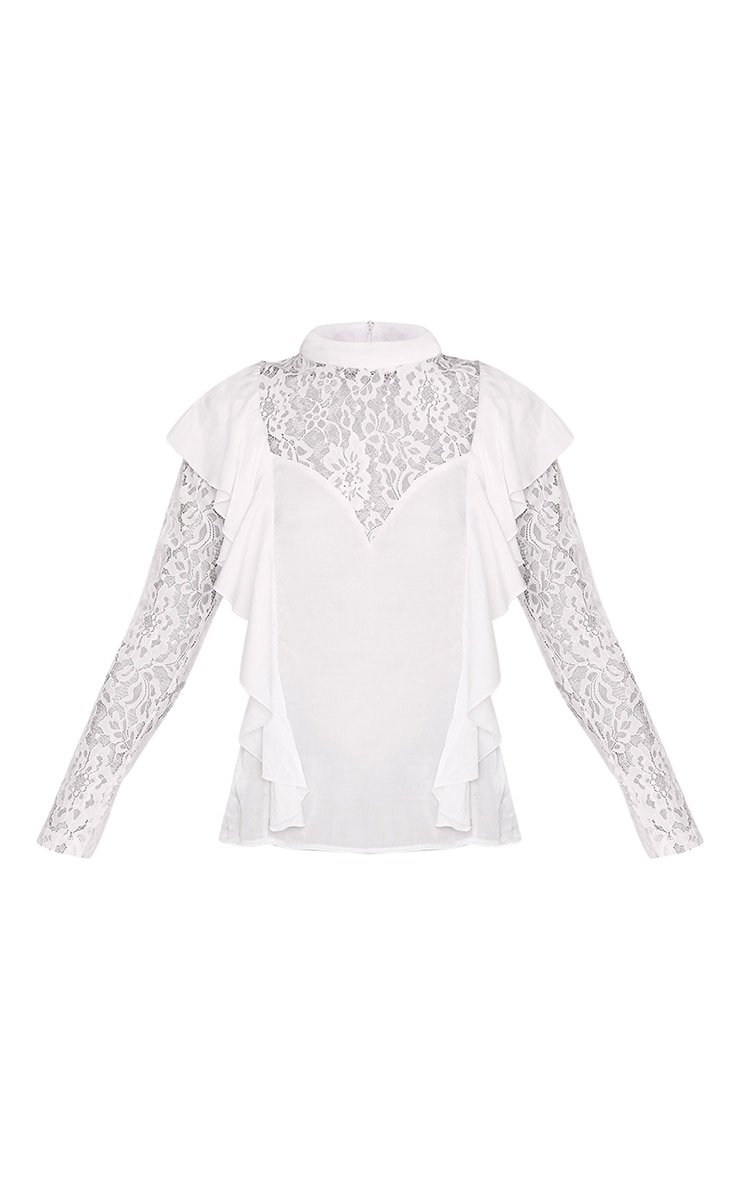 Becki White Ruffle Lace Sleeve High Neck Blouse 3