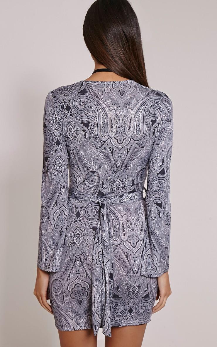 Pyla Paisley Print Wrap Front Tie Waist Mini Dress 2