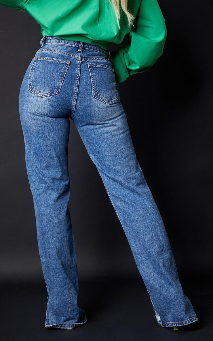 Mid Blue Wash Ripped Split Hem Straight Leg Jeans 3