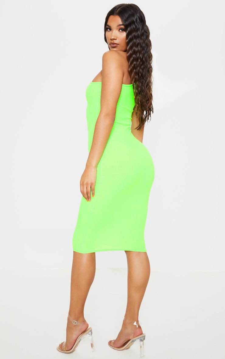 Neon Lime Ribbed One Shoulder Midi Dress 2