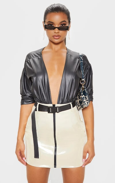 Ecru Vinyl Zip Front Belted Mini Skirt