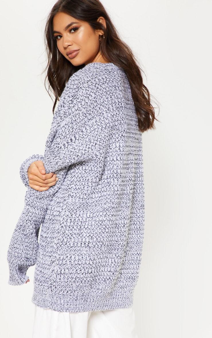 Grey Mixed Yarn Knitted Jumper  2