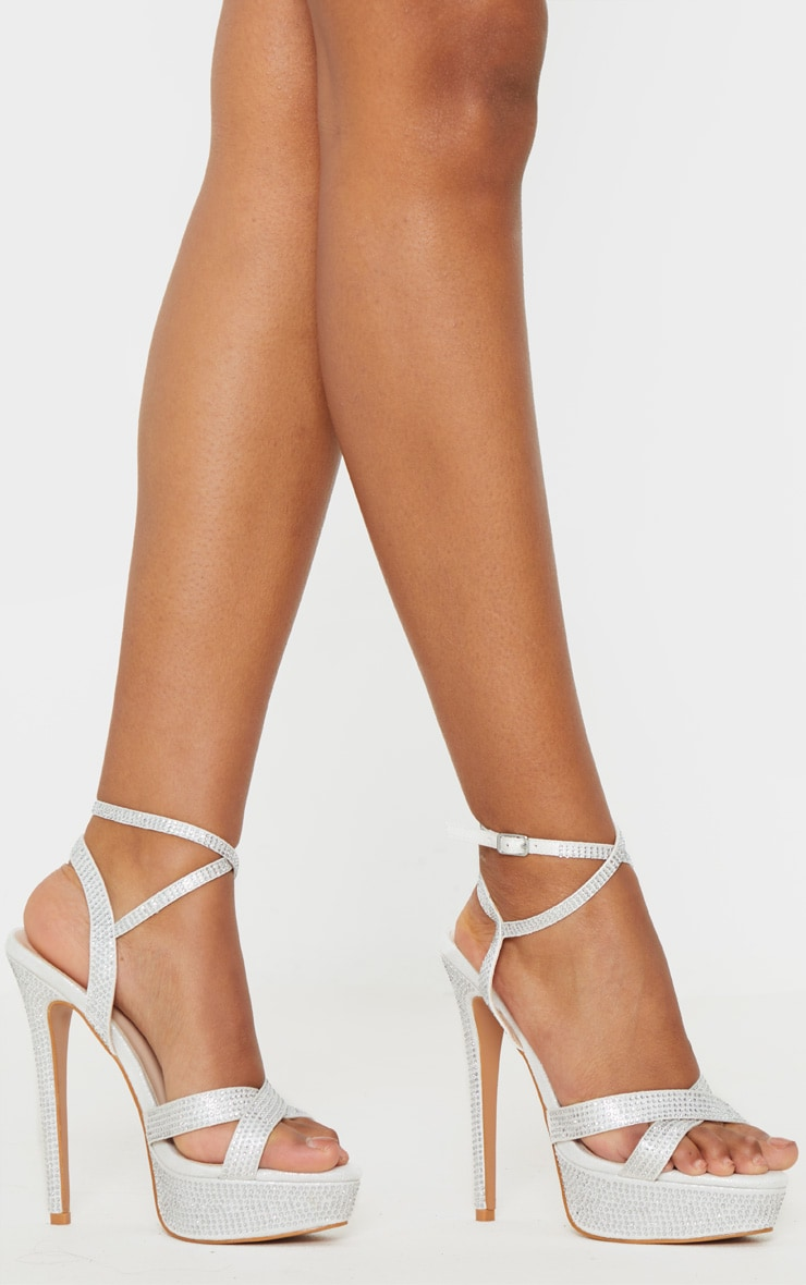 Silver Diamante Platform Sandal 2
