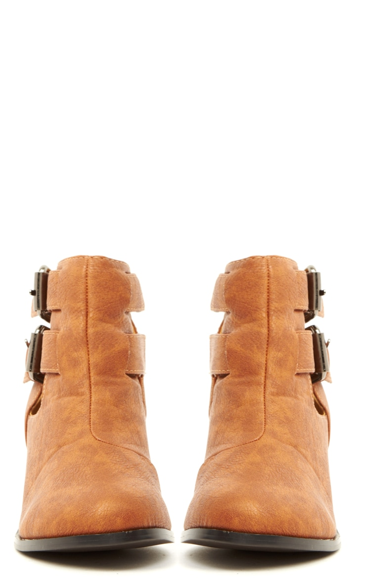 Enya Tan Leather Cut Out Ankle Boots  2