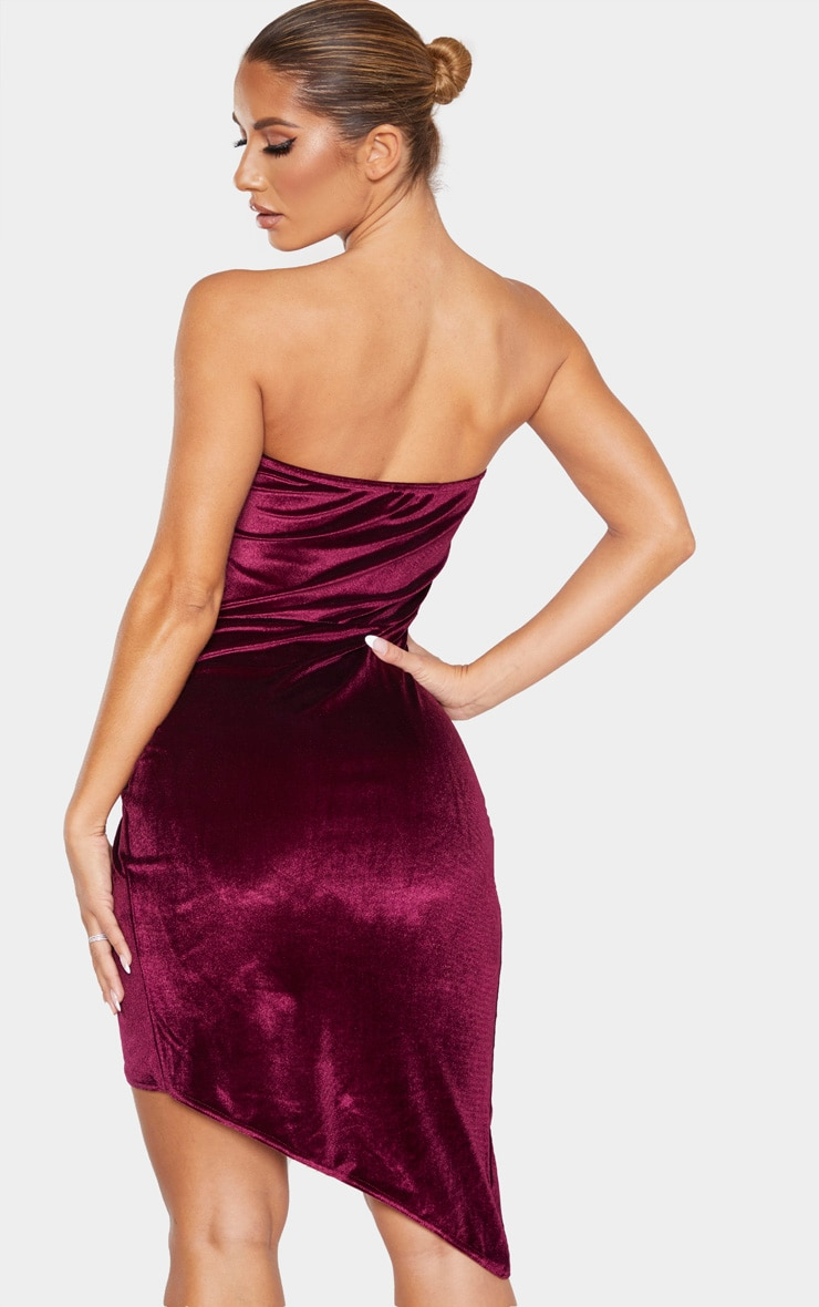 Burgundy Velvet Binding Detail Wrap Over Bandeau Bodycon Dress 2
