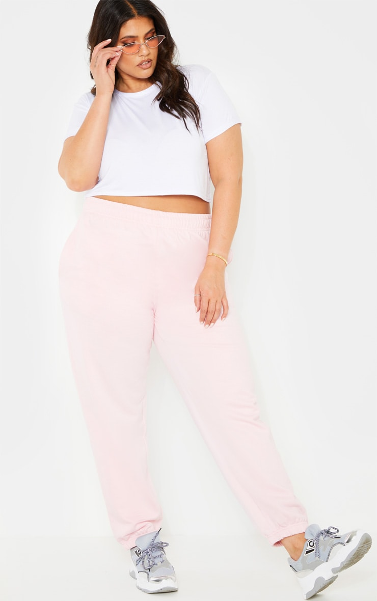 Plus Baby Pink Joggers 1