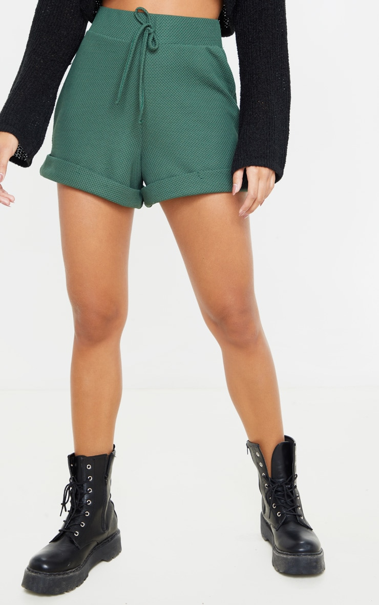 Emerald Green Waffle Turn Up Hem Short 2