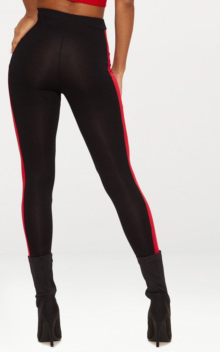 Black Contrast Stripe Leggings 4