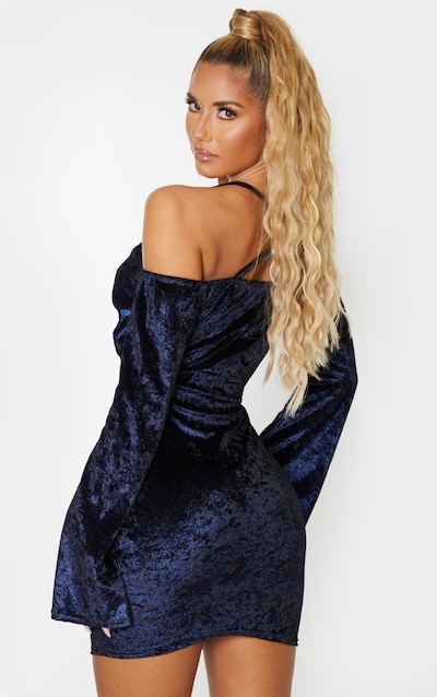 Blue Glitter Tie Front Bardot Bodycon Dress