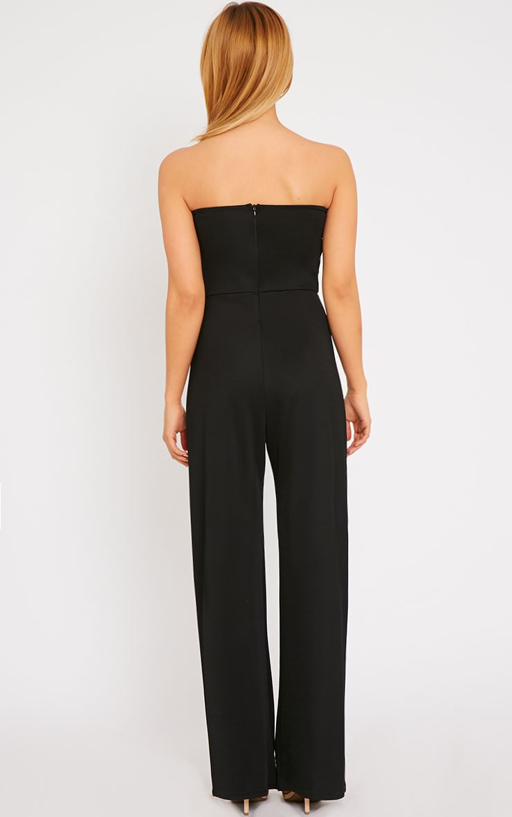 Cilla Black Bandeau Leather Panel Wide Leg Jumpsuit 2
