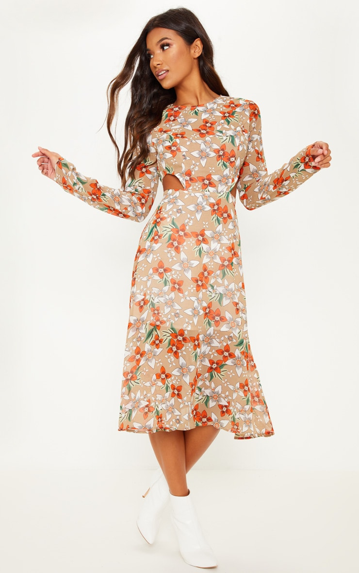 Shoptagr Nude Floral Print Long Sleeve Cut Out Midi Dress By