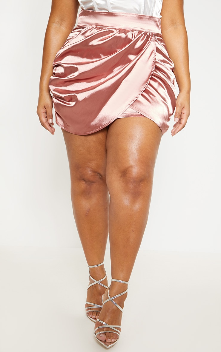 Plus Dusty Pink Satin Gathered Mini Skirt  2