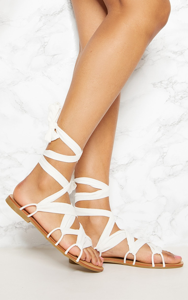 White Ghillie Lace Up Sandal