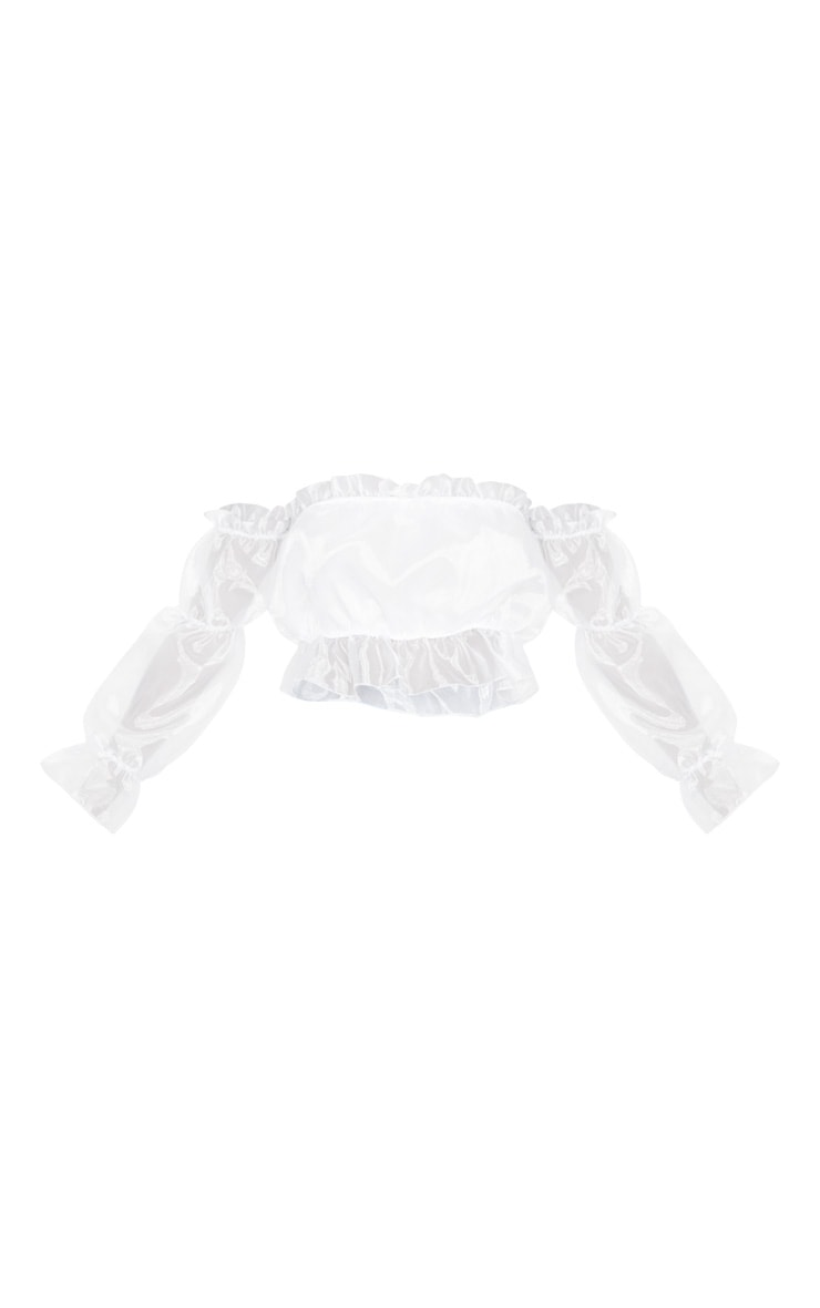 White Organza Ruffle Bardot Flared Sleeve Blouse 3