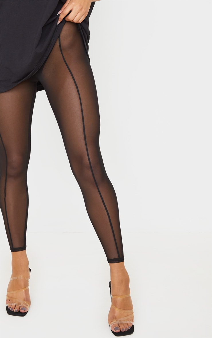 Black Mesh Seam Detail Legging 5