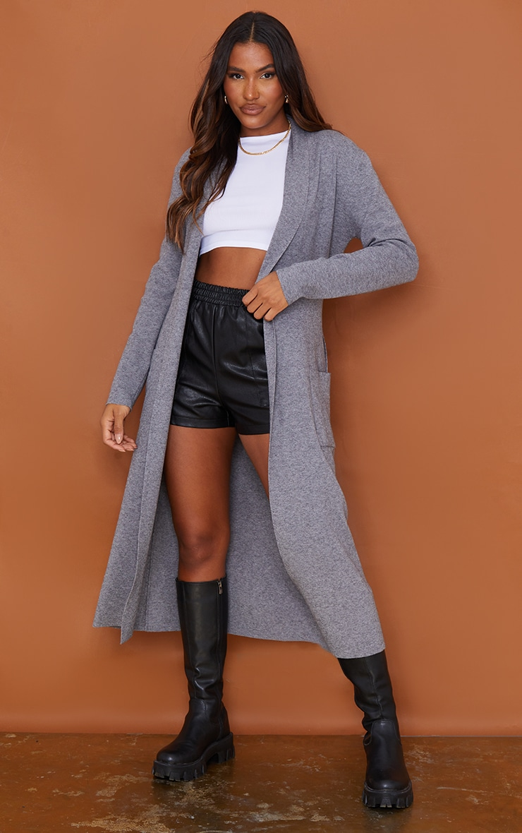 Charcoal Belted Longline Edge To Edge Cardigan 1